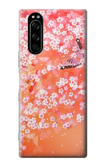 Printed Japanese Style Flower Pattern Sony Xperia 5 Case