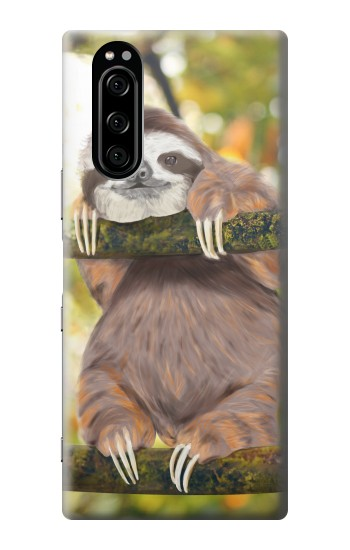 Printed Cute Baby Sloth Paint Sony Xperia 5 Case