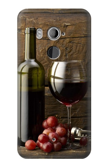 Printed Grapes Bottle and Glass of Red Wine HTC U11+ Case