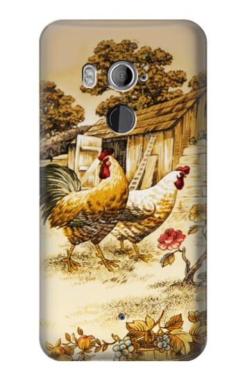 Printed French Country Chicken HTC U11+ Case