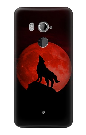 HTC U11+ Wolf Howling Red Moon Case Cover