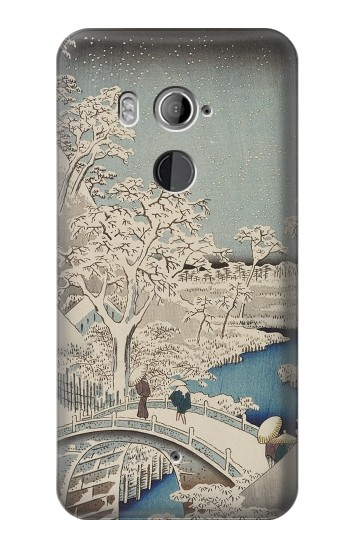 Printed Utagawa Hiroshige The Drum Bridge at Yuhi Hill in Meguro HTC U11+ Case