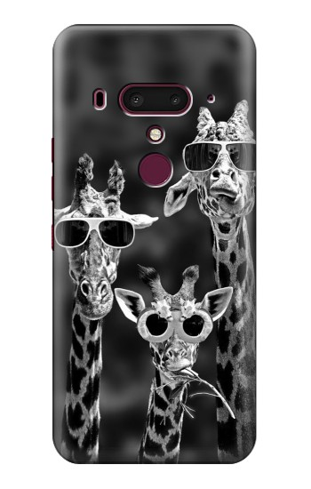 Printed Giraffes With Sunglasses HTC U12+ Case