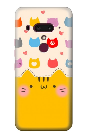 Printed Cute Cat Pattern HTC U12+ Case