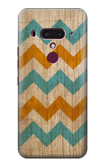 Printed Vintage Wood Chevron HTC U12+ Case