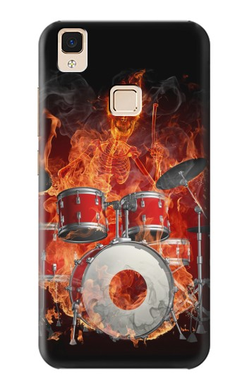 Printed Skull Drum Fire Rock Apple iPad Air Case