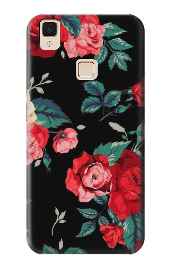 Printed Rose Floral Pattern Black Apple iPad Air Case