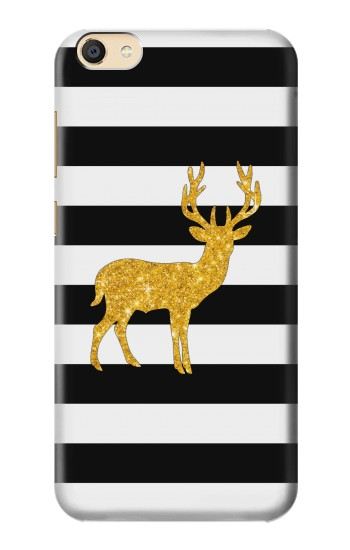 Printed Black and White Striped Deer Gold Sparkles Apple iPad Mini 4 Case