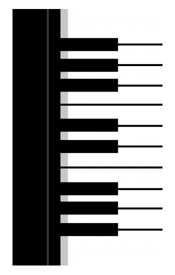Printed Black and White Piano Keyboard Apple Watch Band (40mm) Case