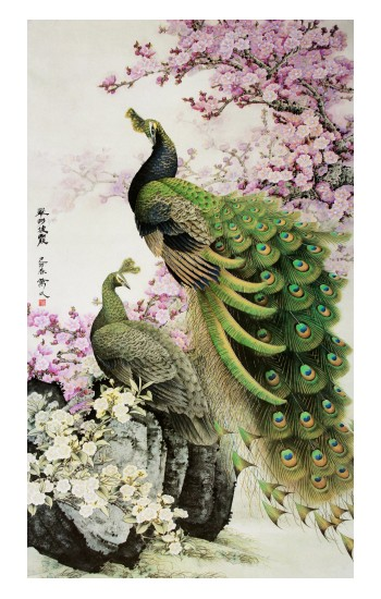 Printed Peacock Chinese Brush Painting Apple Watch Band (44mm) Case