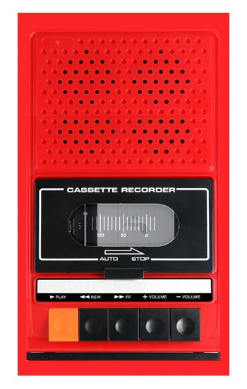 Printed Red Cassette Recorder Graphic Apple Watch Band (44mm) Case