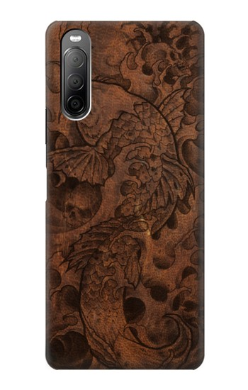 Printed Fish Tattoo Leather Graphic Print Sony Xperia 10 II Case