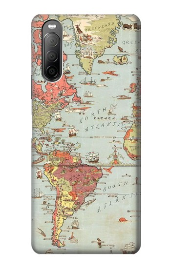 Printed Vintage World Map Sony Xperia 10 II Case