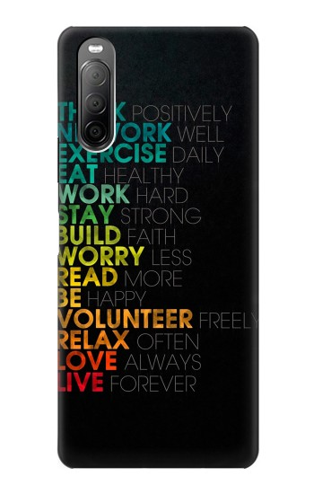 Printed Think Positive Words Quotes Sony Xperia 10 II Case