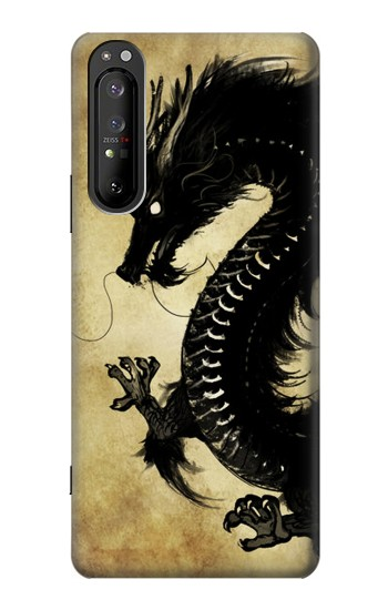 Printed Black Dragon Painting Sony Xperia 1 II Case