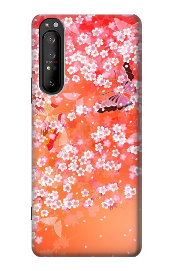 Printed Japanese Style Flower Pattern Sony Xperia 1 II Case