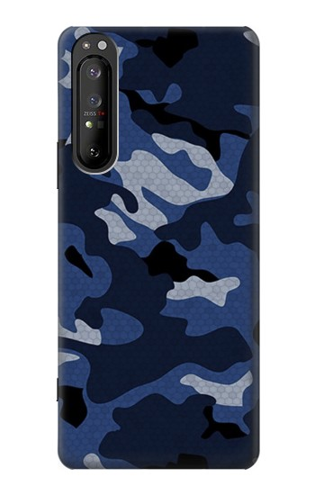 Printed Navy Blue Camouflage Sony Xperia 1 II Case