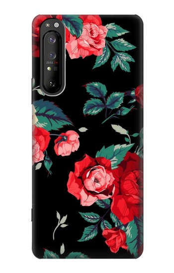 Printed Rose Floral Pattern Black Sony Xperia 1 II Case