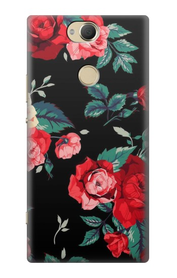 Printed Rose Floral Pattern Black Sony Xperia XA2 Plus Case