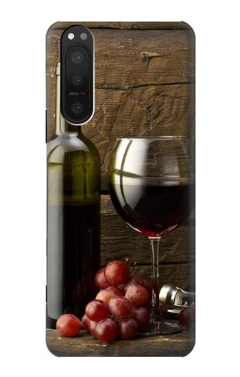 Printed Grapes Bottle and Glass of Red Wine Sony Xperia 5 II Case