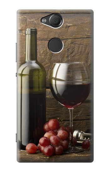 Printed Grapes Bottle and Glass of Red Wine Sony Xperia XA2 Case