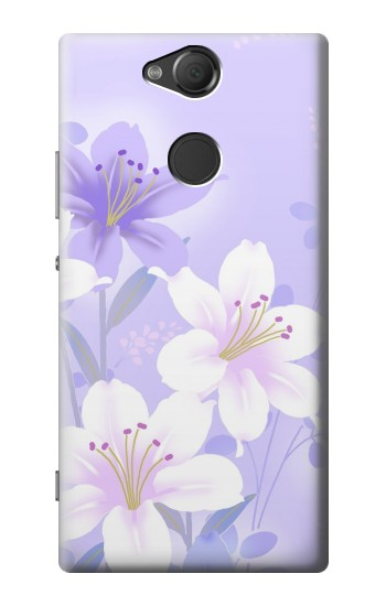 Printed Purple White Flowers Sony Xperia XA2 Case