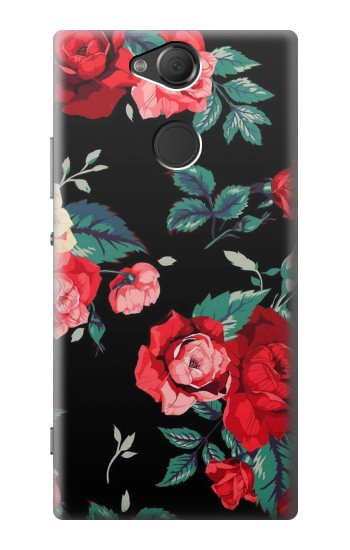 Printed Rose Floral Pattern Black Sony Xperia XA2 Case