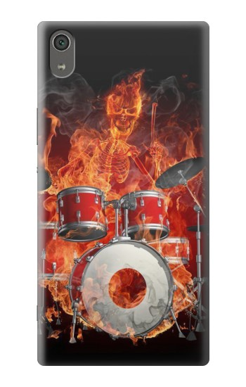 Printed Skull Drum Fire Rock Sony Xperia XA Ultra Case