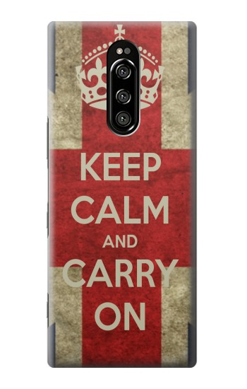 Printed Keep Calm and Carry On Sony Xperia 1 Case