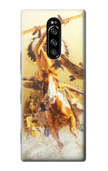 Printed Red Indian Warrior Sony Xperia 1 Case