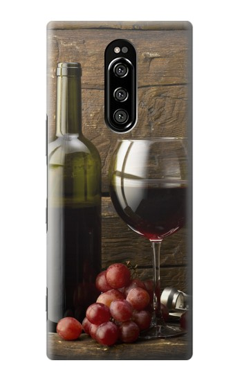Printed Grapes Bottle and Glass of Red Wine Sony Xperia 1 Case