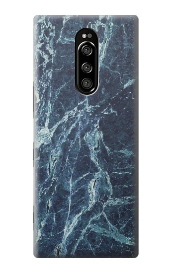 Printed Light Blue Marble Stone Texture Printed Sony Xperia 1 Case