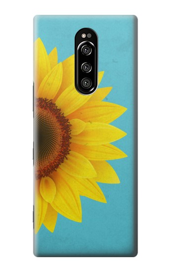 Printed Vintage Sunflower Blue Sony Xperia 1 Case