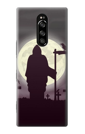 Printed Night Moon Cemetery Sony Xperia 1 Case