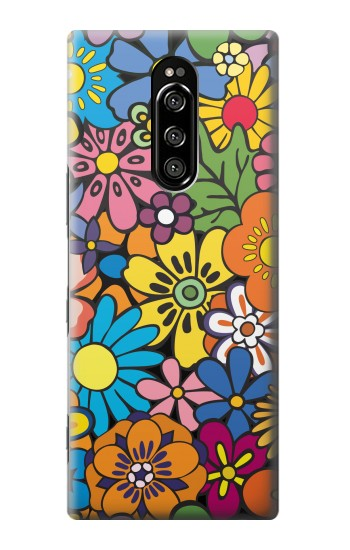 Printed Colorful Flowers Pattern Sony Xperia 1 Case