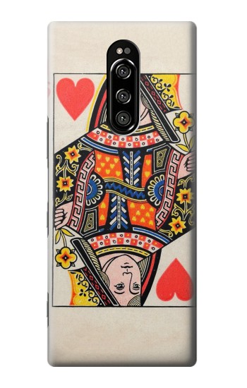 Printed Queen Hearts Card Sony Xperia 1 Case