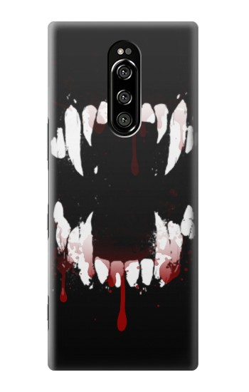 Printed Vampire Teeth Bloodstain Sony Xperia 1 Case