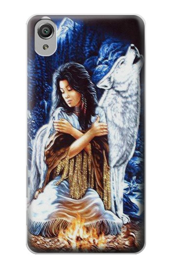 Printed Grim Wolf Indian Girl Sony Xperia X Case