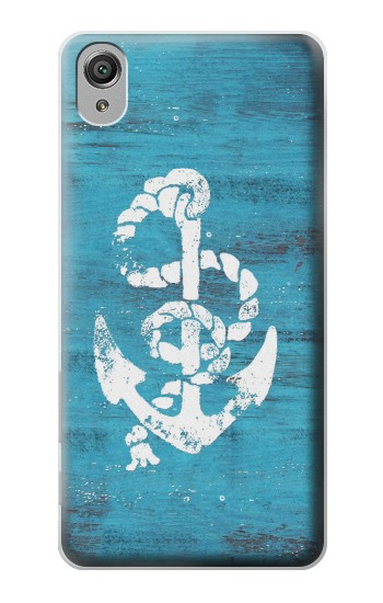 Printed Marine Anchor Blue Wooden Sony Xperia X Case