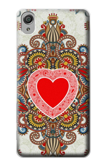 Printed Heart Pattern Line Art Sony Xperia X Case