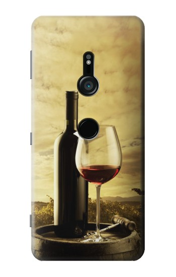 Printed A Grape Vineyard Grapes Bottle and Glass of Red Wine Sony Xperia XZ3 Case