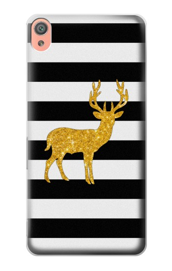 Printed Black and White Striped Deer Gold Sparkles Sony Xperia XA Case