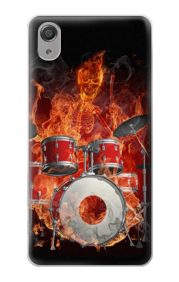 Printed Skull Drum Fire Rock Sony Xperia X Performance Case