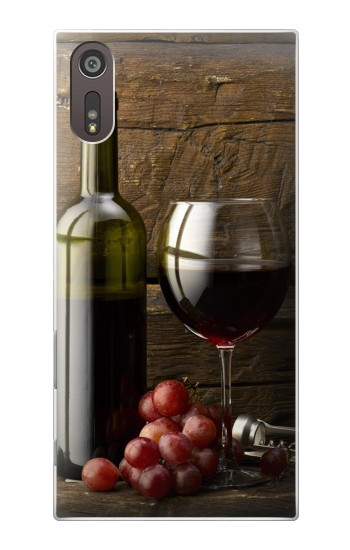 Printed Grapes Bottle and Glass of Red Wine Sony Xperia XZ Case