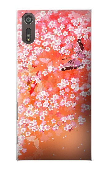 Printed Japanese Style Flower Pattern Sony Xperia XZ Case