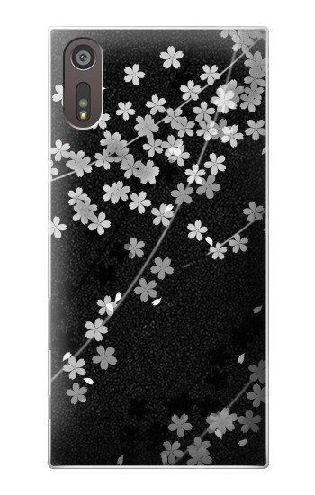 Printed Japanese Style Black Flower Pattern Sony Xperia XZ Case