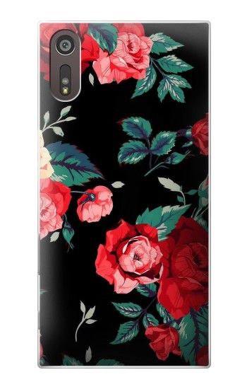 Printed Rose Floral Pattern Black Sony Xperia XZ Case
