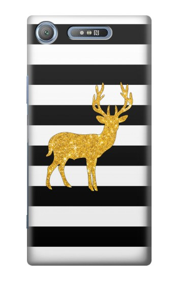 Printed Black and White Striped Deer Gold Sparkles Sony Xperia E3 Case