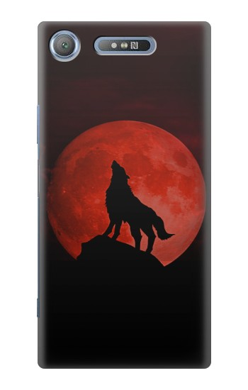 Printed Wolf Howling Red Moon Sony Xperia E3 Case