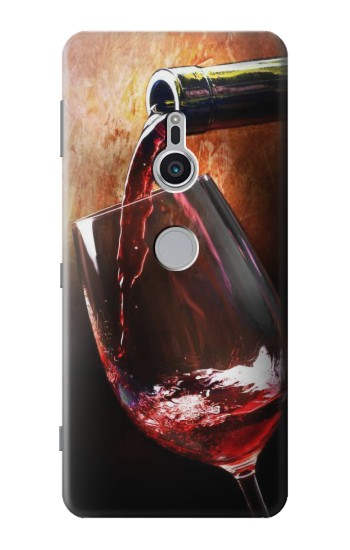 Printed Red Wine Bottle And Glass Sony Xperia XZ2 Case